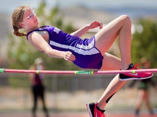 Yerington's Allison Preston clears the high jump bar