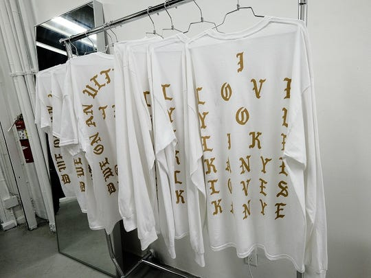 "One of the shirts for sale at Kanye West's ""Pablo"" pop-up shop in New York City quotes a line from his song ""I Love Kanye"": ""I love you like Kanye loves Kanye."""