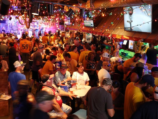 Preds fans fill the Tin Roof Broadway to watch game 6 of the Stanley Cup finals on June 11, 2017.
