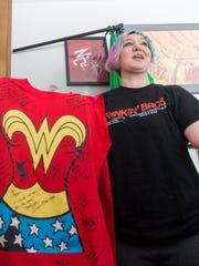 Army veteran Mary Dague shows her Wonder Woman shirt