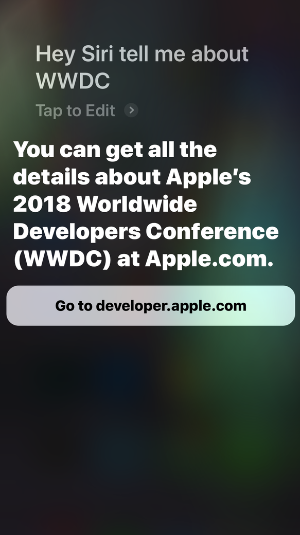 Apple's new Siri message for WWDC previews