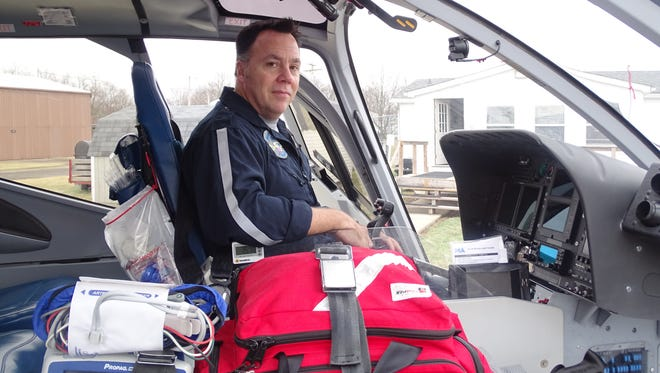 MedFlight emergency helicopter pilot David Corbi recently returned home to Ohio after flying Black Hawks for the U.S. Army in Kuwait. Corbi, of Johnstown, works for MedFlight 4 in Coshocton.