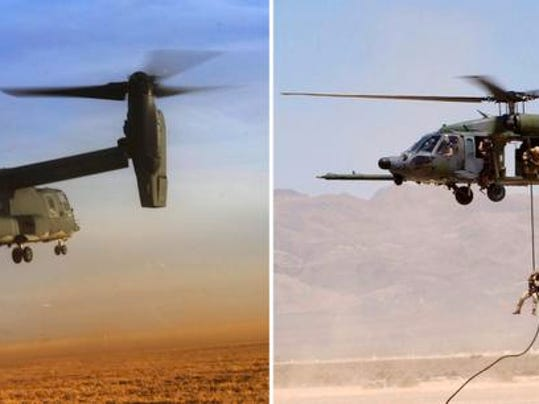 A US Air Force CV-22 Osprey tiltrotor aircraft, left, and an HH-60G Pave Hawk helicopter and an A-10 Thunderbolt II.