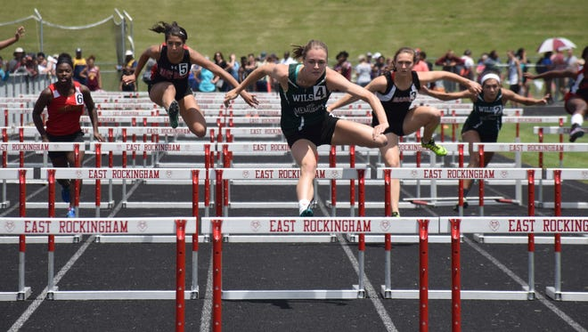 Wilson Memorial's Emilie Miller, center, won two events and placed second in three more at the VHSL Class 1/2 Indoor State Track & Field Championships on Wednesday and Thursday at Roanoke College.