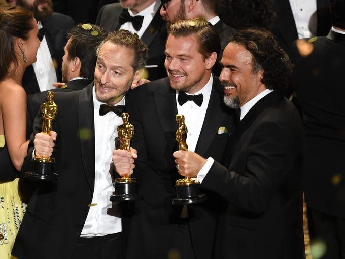 Cinematographer Emmanuel Lubezki, actor Leonardo DiCaprio