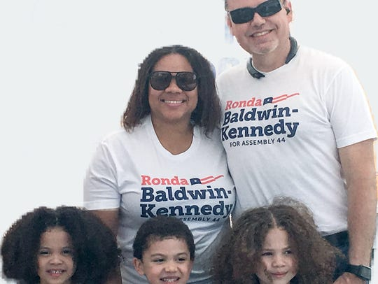 Republican Ronda Baldwin-Kennedy, center left, is running to unseat Jacqui Irwin, D-Thousand Oaks, as Assembly member for District 44. Featured with her husband, Michael Kennedy, and triplets Annbel, Bianca and Liam.