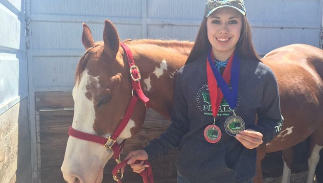 Carley Stratton won the working rancher category at the WAHSET state championships over the weekend at the Grant County Fairgrounds in Moses Lake.
