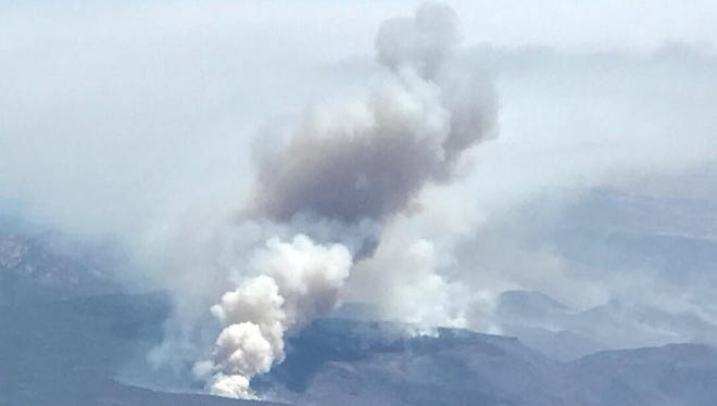 A photo of the Goodwin Fire from an airplane on June 28, 2017.