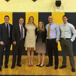 Elmira Notre Dame Hall of Fame inductees Dave Daniels, Josh Hammer, Siegi Herzl-Betz, Elizabeth McGill, Lauren Tranter and Luke Whitteker on the night of the induction ceremony. Not pictured: Anne Maxwell (Tuite).