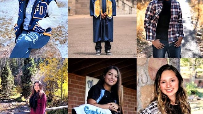 "The 2020 Leticia ""Weda"" Salinas Scholarship awardees, clockwise from top left, Mackenzie Lopez, Lawrence Martinez, Brandon Lucero, Kaylin Mares, Jasmine Garbiso and Pamela Salais."