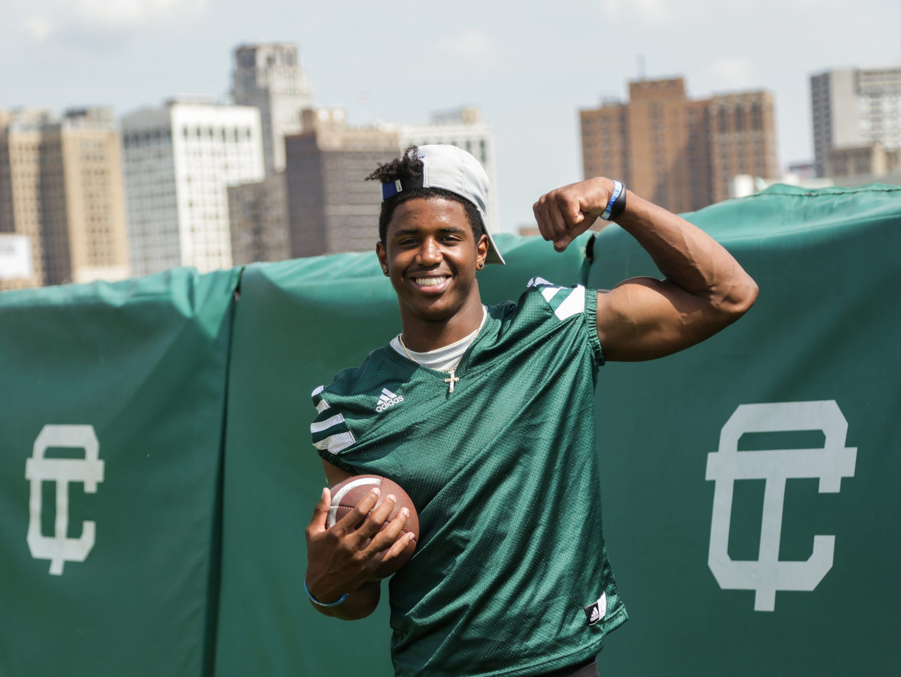 Detroit Cass Tech's Donovan Peoples-Jones poses for a photo during practice on Aug. 17 at Cass Tech.