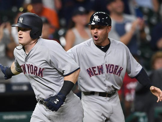 New York Yankees center fielder Clint Frazier (30) runs to home plate after hitting a home run during the seventh inning of the game against the Houston Astros at Minute Maid Park on Saturday, July 1, 2017 in his debut in the major leagues.