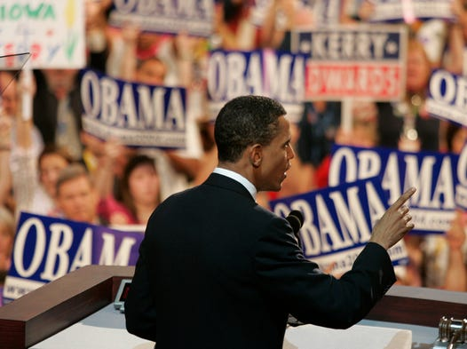 """Then-Illinois state Sen. Barack Obama's 2004 speech at the Democratic National Convention in Boston helped cast him as a """"post-racial"""" candidate: """"There's not a black America and white America and Latino America and Asian America; there's the United States of America,"""" he said."""