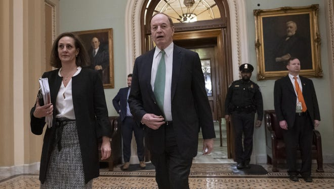 Sen. Richard Shelby, R-Ala., chair of the Senate Appropriations Committee, leaves the chamber as he and other senior bipartisan House and Senate negotiators try to negotiate a border security compromise in hope of avoiding another government shutdown, at the Capitol in in Washington, Monday, Feb. 11, 2019.