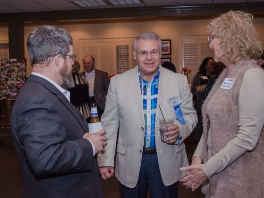 From left, Stephen Woerner, Leadership Montgomery Board Member Mike Ranieri, and Rachelle Janush were among those at a recent Leadership Montgomery Alumni Reunion party.