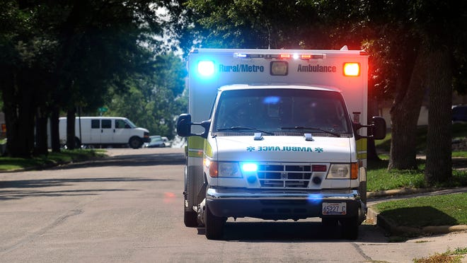 Rural/Metro Ambulance responds to a call last year in Sioux Falls. The city will make a decision about its ambulance service in December. Rural/Metro's contract is up in May 2015.