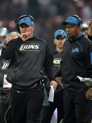Detroit Lions offensive coordinator Jim Bob Cooter (left) and coach Jim Caldwell react in the fourth quarter against the Kansas City Chiefs during game 14 of the NFL International Series at Wembley Stadium. The Chiefs defeated the Lions 45-10.