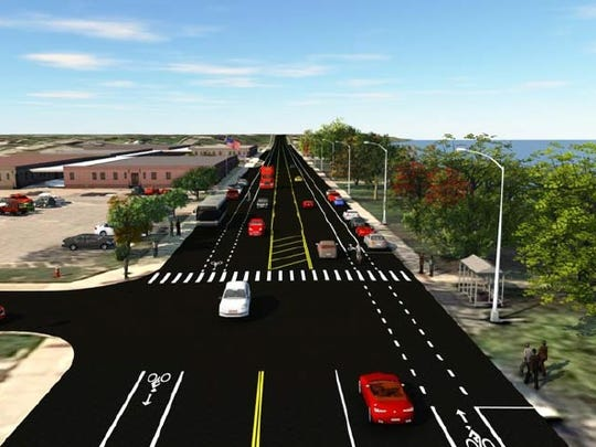 The first option to reconfigure lanes on Riverside Drive in downtown St. Clair.
