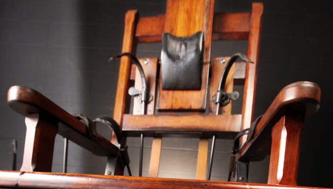 An electric chair on display in Columbus, Ohio.