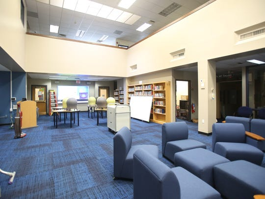 Rye Neck schools are changing their learning spaces for the new year. This is a view of the libraries various work stations, movable chairs and touch screen monitors at Rye Neck schools.
