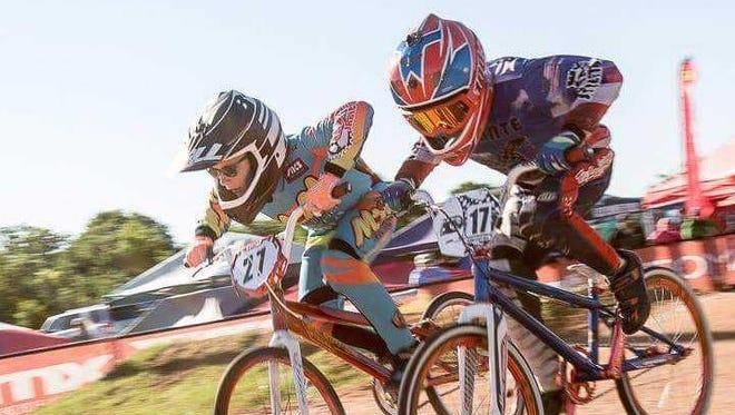 Satellite Beach's Dalton Cummins (27) competes during a BMX bike race in Texas.