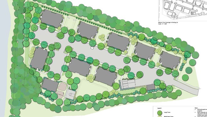 Rendering of a planned 64 unit affordable apartment complex in Delanco.