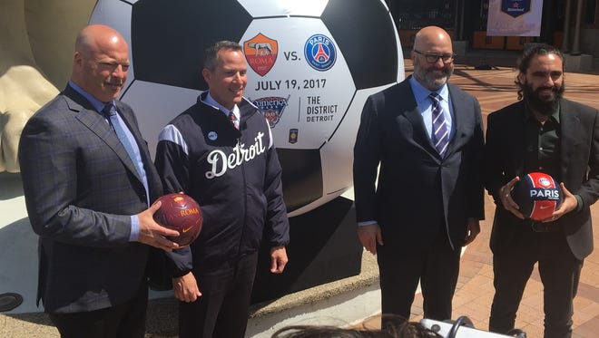 AS Roma Youth Academy partnership director Alex Zecca, from left, with Detroit Tigers owner Chris Ilitch, Relevant Sports chairman Charlie Stillitano and former Paris Saint-Germain player Juan Pablo Sorin after a news conference Wednesday, May 3, 2017, announcing a July 19 International Champions Cup soccer match at Comerica Park.