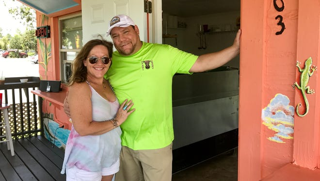 Bill Jarvis opened Tiki Subs July 1 in Iona. His girlfriend, artist Alysia Van Camp, painted the shop's murals.