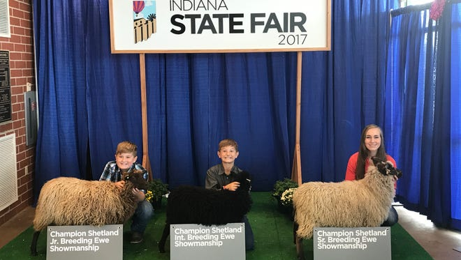 Local winners in the 2017 Indiana State Fair 4-H Shetland Breeding Ewe Showmanship competition were (from left) Ephraim Eller, Elijah Eller and Elizabeth LaMar.