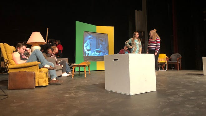 """Menasha High School drama students rehearse for the upcoming production of """"The Perfect Ending,"""" set to open Feb. 8 at the high school."""