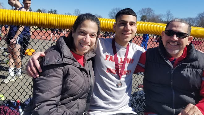 Fair Lawn's Joe Fernandez with his mother, Wendy, and father, Jose.