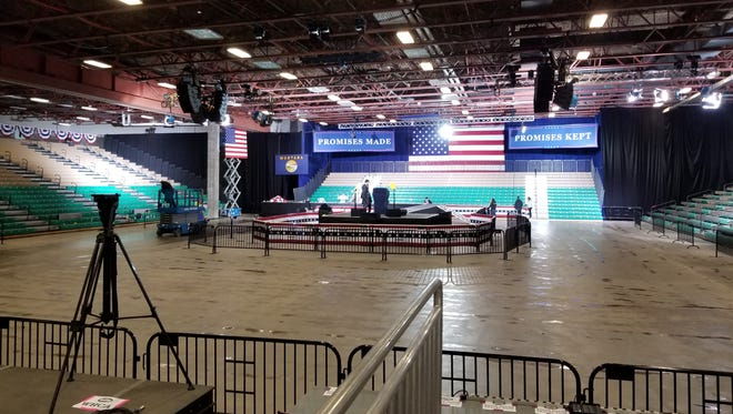 The Great Falls Four Seasons Arena is prepared for the Donald Trump Rally on July 5, 2018.
