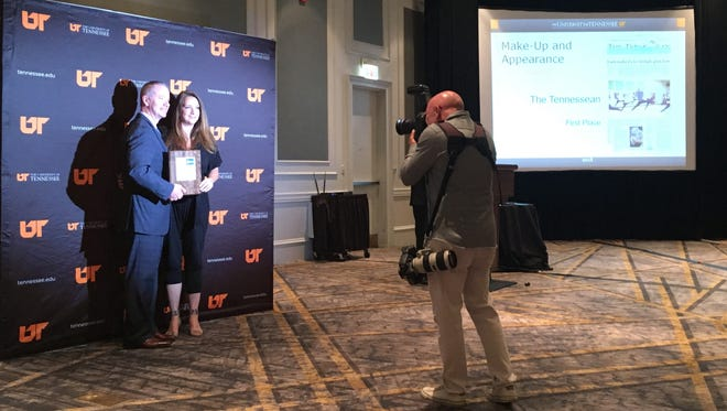 The Tennessean's breaking news reporter Natalie Alund receives a first place award on behalf of The Tennessean at the annual Tennessee Press Awards.