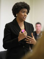 Velda Jones-Potter speaks to members of the Westside Neighborhood Coalition during a meeting in 2013.