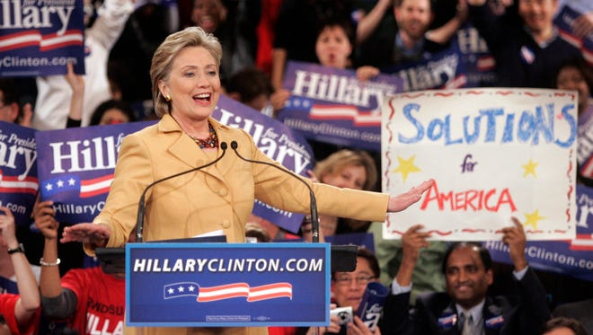 File photo shows Hillary Clinton celebrating her primary win in New York on Feb. 5, 2008