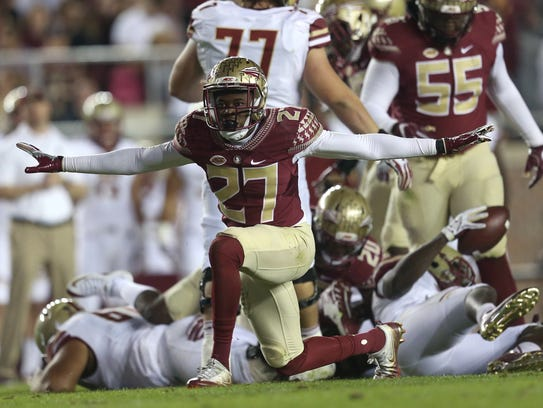 FSU's Marquez White after making a tackle in the backfield