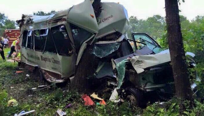 A bus from Philadelphia Baptist Church in Deville hit two trees Friday after the driver ran off Interstate 10 in Florida. One person was seriously hurt.