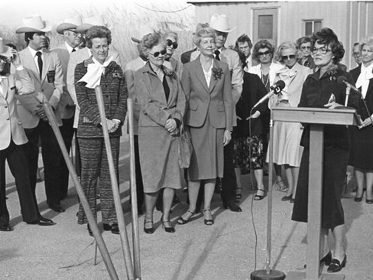Jean Puckett speaks during a groundbreaking ceremony for an addition to the Wichita Falls Museum and Art Center in this March 1980 file photograph, about a year after the 1979 tornado destroyed 40 percent of the museum. Puckett, who was the president of the museum at the time, said none of the art was damaged.
