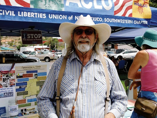 William Hudson, president of the local ACLU chapter and a resident of the Mimbres Valley, was in Gough Park on Saturday collecting signatures for a petition requesting Grant County re-establish a detention center advisory board. Randal Seyler - Sun-News