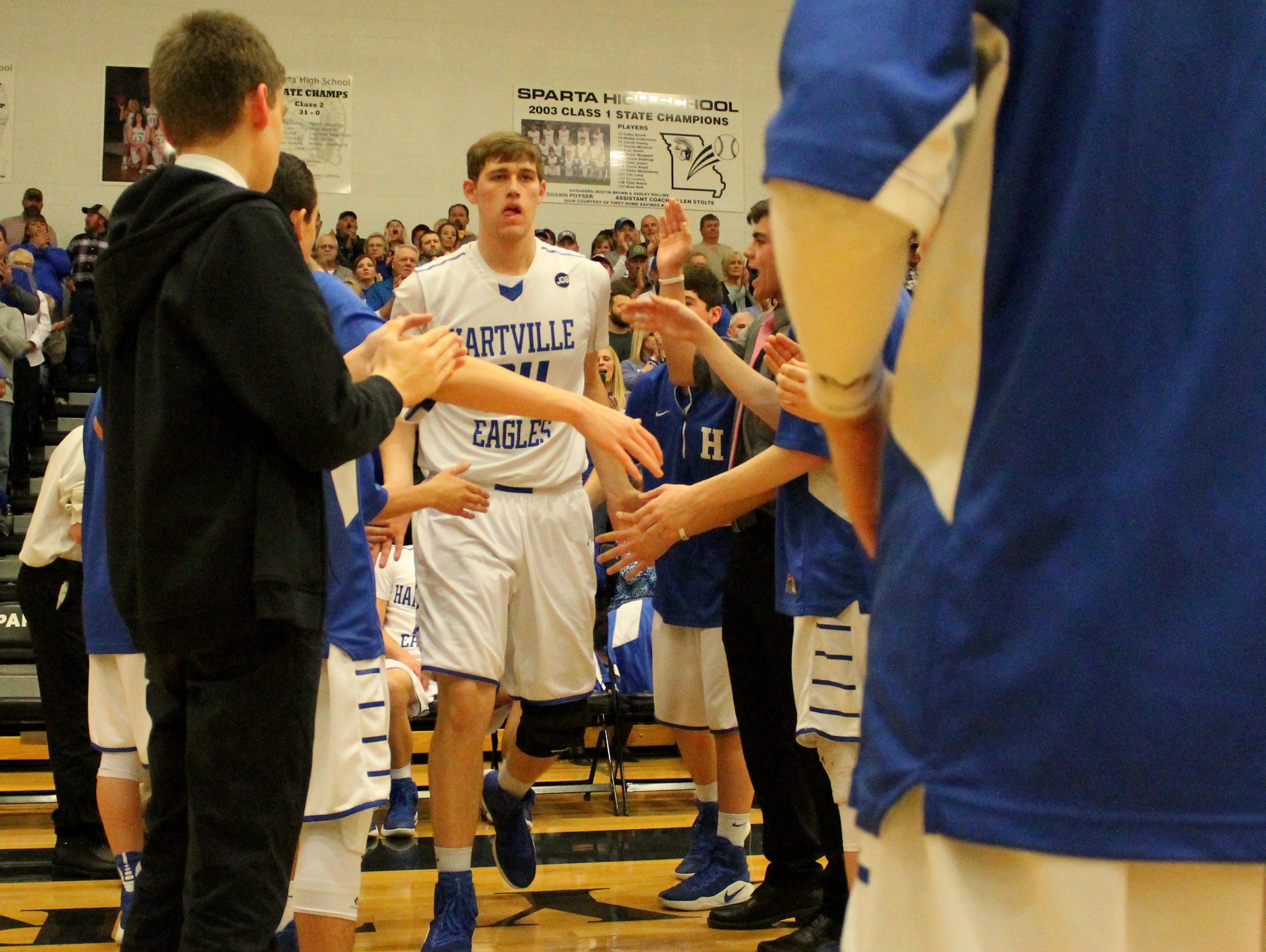 Hartville junior Cody Kelley (34) scored 14 points in a 53-42 win over Mansfield in the 2017 Class 2 District 4 championship game at Sparta High School.