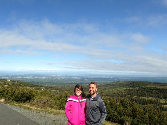 Megan and Brad Perry at a mountain in Alaska