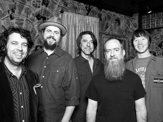 Jay Gonzalez (left to right), Patterson Hood, Mike Cooley, Brad Morgan and Matt Patton of Drive-By Truckers.