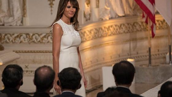 First lady Melania Trump enters the ballroom before a joint press conference between President Donald J. Trump and Japanese prime minister Shinzo Abe at Mar-a-Lago in Palm Beach, FL, Wednesday, April 18, 2018.