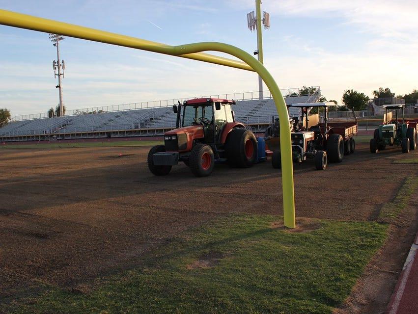 Phoenix Mountain Pointe's football field undergoes construction thanks to the Arizona Cardinals.