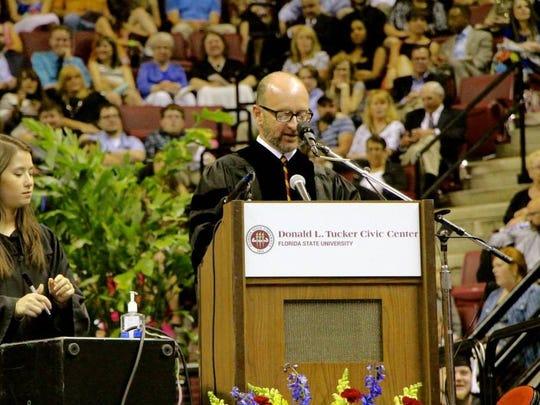 File photo of FSU teaching professor Mark Zeigler seerving as head marshal at an FSU commencement.