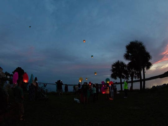 Lanterns are released off the coast of Wakulla County
