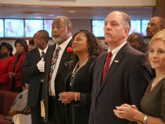 Caddo DA candidate James Stewart appears here with gubernatorial candidate John Bel Edwards at Mount Canaan Missionary Baptist Church