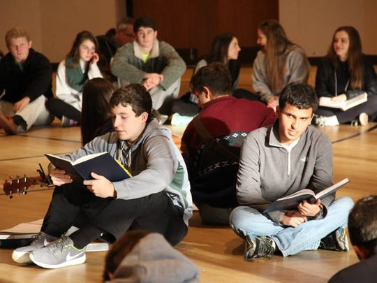 Andrew Rogers, foreground, from left, of Memphis and Aaron Posner of Baton Rouge participate in a previous NFTY gathering called Kallah.