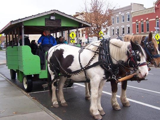 Horse drawn wagon in Canandaigua.
