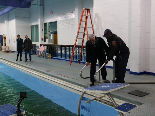 The New Rochelle Fire Department helped fill the 130,000-gallon